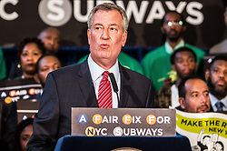 August 7, 2017 - New York City, New York, United States of America - (photo: Sachelle Babbar) At City Hall on Monday Mayor de Blasio announced a bill to impose a tax on the wealthiest New Yorkers in order to finance the long-overdue repairs, upgrades, and general maintenance of the NYC subway system.  As of late, the subway system has been plagued with delays and accidents, including a June subway derailment that injured dozens.  The derailment was due to the storage of loose items by MTA personnel on the tracks.  ..Currently, the revitalization plan is being held up by Governor Cuomo's office, who must approve the tax.  The temporary emergency efforts to reduce delays will cost in the hundreds of millions, while the long-term revitalization plan, according to MTA chairman Joe Lhota, will amount to approximately $8 billion. (Credit Image: © Sachelle Babbar via ZUMA Wire)
