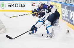 Mikko Rantanen of Finland vs Kevin Hecquefeuille of France during the 2017 IIHF Men's World Championship group B Ice hockey match between National Teams of Finland and France, on May 7, 2017 in Accorhotels Arena in Paris, France. Photo by Vid Ponikvar / Sportida