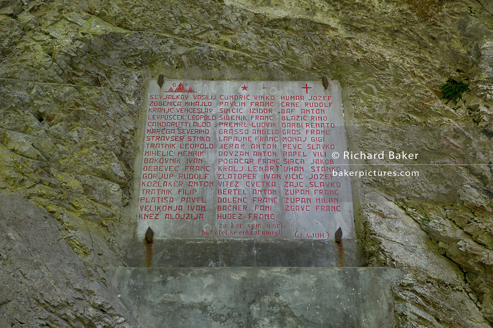 Names of those who died from injuring while at the WW2-era Franja Partisan Hospital on 20th June 2018, near Dolenji Novaki, Slovenia. From December 1943 until the end of the war as part of a broadly organized resistance movement against the Fascist and Nazi occupying forces, the hospital was set in a deep gorge in rural Slovenia where fighters were brought in from many areas to be treated in this secret location. 578 were treated here but the mortality rate were only 10% and the site was never discovered by German forces. Franja is in the UNESCO Tentative List of World Heritage sites.