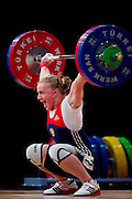 Tima Turieva from Russia lifts in Snatch competition woman's 63 kg Group A during weightlifting IWF World Championships Wroclaw 2013 at Centennial Hall in Wroclaw on October 23, 2013.<br /> <br /> Poland, Wroclaw, October 23, 2013<br /> <br /> Picture also available in RAW (NEF) or TIFF format on special request.<br /> <br /> For editorial use only. Any commercial or promotional use requires permission.<br /> <br /> Mandatory credit:<br /> Photo by &copy; Adam Nurkiewicz / Mediasport