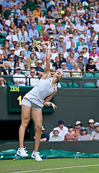 LONDON, ENGLAND - Tuesday, July 2, 2019: Johanna Konta (GBR) serves during the Ladies' Singles first round match on Day Two of The Championships Wimbledon 2019 at the All England Lawn Tennis and Croquet Club. (Pic by Kirsten Holst/Propaganda)