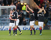 Dundee&rsquo;s Darren O&rsquo;Dea hugs Paul McGowan as the Dundee players celebrate at full time - Dundee v Rangers in the Ladbrokes Scottish Premiership at Dens Park, Dundee.Photo: David Young<br /> <br />  - &copy; David Young - www.davidyoungphoto.co.uk - email: davidyoungphoto@gmail.com