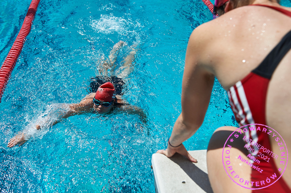 SO Poland athletes compete in aquatics relay 4 x 50 meters during eighth day of the Special Olympics World Games Los Angeles 2015 on August 1, 2015 at Uytengsu Aquatics Centre at University of Southern California in Los Angeles, USA.<br /> <br /> USA, Los Angeles, August 1, 2015<br /> <br /> Picture also available in RAW (NEF) or TIFF format on special request.<br /> <br /> For editorial use only. Any commercial or promotional use requires permission.<br /> <br /> Adam Nurkiewicz declares that he has no rights to the image of people at the photographs of his authorship.<br /> <br /> Mandatory credit:<br /> Photo by &copy; Adam Nurkiewicz / Mediasport