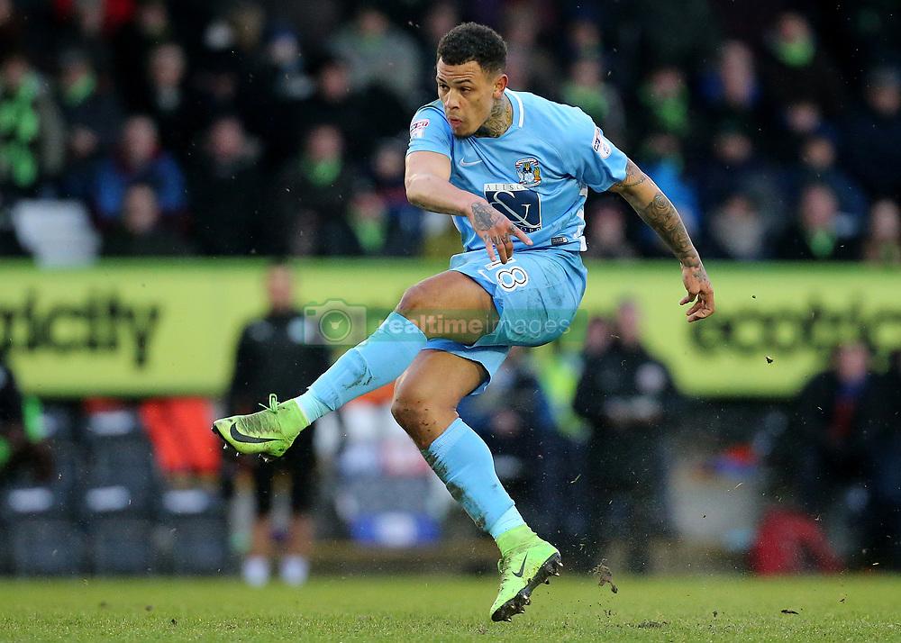 Coventry City's Jonson Clarke-Harris takes a free kick
