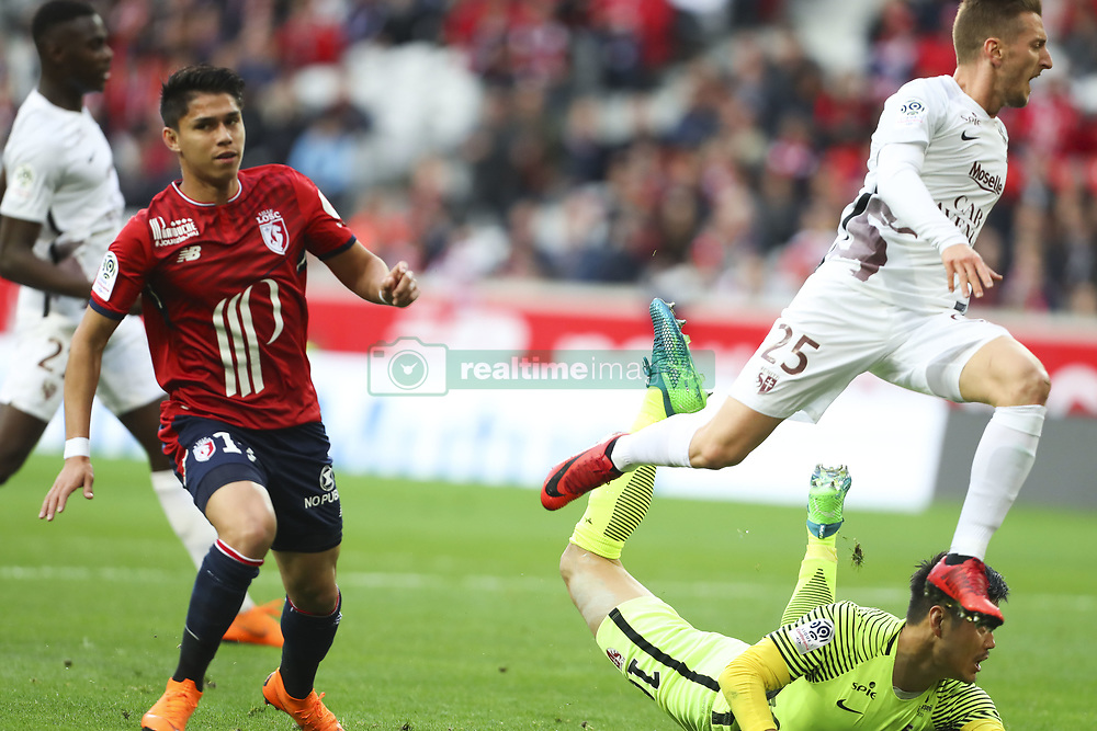 April 28, 2018 - Villeneuve D Ascq, France - Luiz Araujo ( Lille ) vs Ivan Balliu  (Credit Image: © Panoramic via ZUMA Press)
