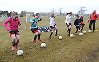 Girls training at  Creggmore Football Club. Photo:Andrew Downes.