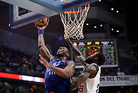 Real Madrid's Othello Hunter and Anadolu Efes's Bryant Dunston during Turkish Airlines Euroleague match between Real Madrid and Anadolu Efes at Wizink Center in Madrid, April 07, 2017. Spain.<br /> (ALTERPHOTOS/BorjaB.Hojas)