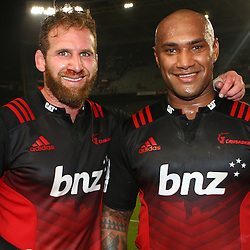 DURBAN, SOUTH AFRICA - MARCH 26: Kieran Read with Nemani Nadolo of the BNZ Crusaders during the Super Rugby match between Cell C Sharks and BNZ Crusaders at Growthpoint Kings Park on March 26, 2016 in Durban, South Africa. (Photo by Steve Haag)<br /> <br /> images for social media must have consent from Steve Haag