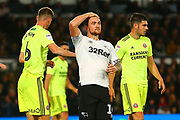 Derby County forward Tom Lawrence (10) reacts to missing a good chance during the EFL Sky Bet Championship match between Derby County and Sheffield United at the Pride Park, Derby, England on 20 October 2018.