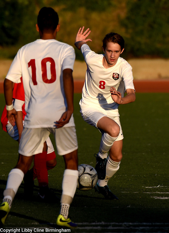 Glendora's Theodore Prouty (8) controls the ball in the first half of a first round CIF soccer prep soccer match against Colony at Citrus College in Glendora, Calif., on Friday, Feb. 16, 2018. (Photo by Libby Cline Birmingham)
