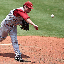 June 03, 2011; Tallahassee, FL, USA;  Alabama Crimson Tide fan Nathan Kilcrease (28) pitches during the seventh inning against the UCF Knights in the 2011 Tallahassee Regional at Dick Howser Stadium. Alabama defeated UCF 5-3.  Mandatory Credit: Derick E. Hingle