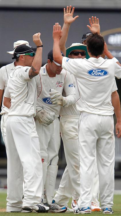 NZ XI celebrate Trent Boult taking the wicket of Azhar. International Cricket, New Zealand XI v Pakistan, Day 2, Cobham Oval Whangarei, Monday 3rd January 2011. Photo: Shane Wenzlick / www.photosport.co.nz