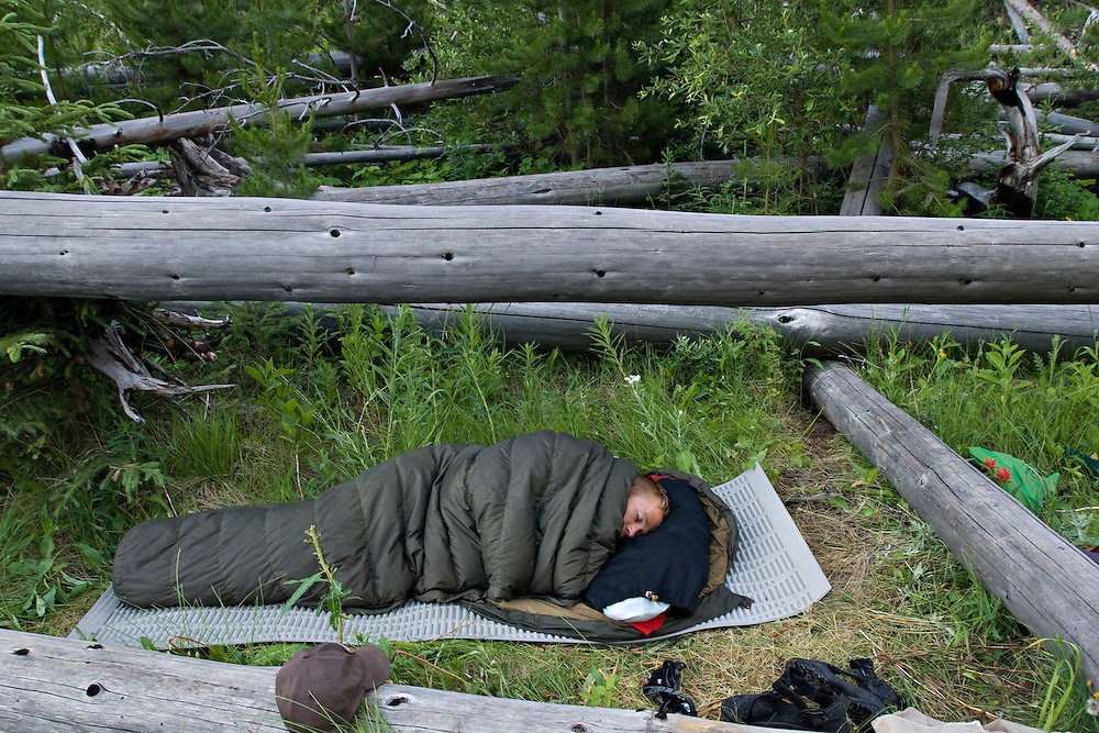 A backpacker camps out in the Scapegoat Wilderness Area near Missoula Montana.