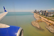 Approaching Batumi, Georgia, as seen from the within the cabin of a Travel Service Airlines (Czech Republic) Boeing 737-800