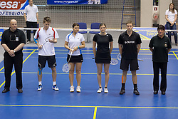 Ceremony before final match in mixed doubles at Slovenia Open Badminton tournament 2012, on May 13, 2012, in Medvode, Slovenia. (Photo by Grega Valancic / Sportida.com)