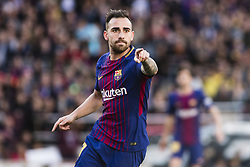 March 18, 2018 - Barcelona, Spain - BARCELONA, SPAIN - MARCH 18: 17 Paco Alcazer from Spain of FC Barcelona celebrating his goal during La Liga match between FC Barcelona v Atletic de Bilbao at Camp Nou Stadium in Barcelona on 18 of March, 2018. (Credit Image: © Xavier Bonilla/NurPhoto via ZUMA Press)