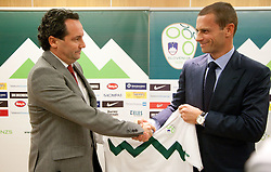 Aleksander Ceferin, president of NZS (R) shaking hands with Slavisa Stojanovic, new   a new head coach of Slovenian National football Team during press conference of Football federation of Slovenia, on October 24, 2011, in Brdo pri Kranju, Slovenia.  (Photo by Vid Ponikvar / Sportida)