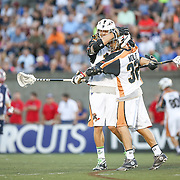 Joel White #11 of the Rochester Rattlers and Jordan Wolf #32 of the Rochester Rattlers celebrate a goal during the game at Harvard Stadium on August 9, 2014 in Boston, Massachusetts. (Photo by Elan Kawesch)