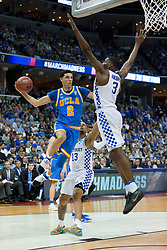 UCLA guard Lonzo Ball drives to the basket looking for a teammate in the first half. <br /> <br /> The University of tKentucky hosted the University of California Los Angeles in a 2017 NCAA Division 1 Sweet 16 game, Friday, March 24, 2017 at FedExForum in Memphis.
