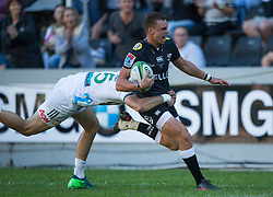 DURBAN, SOUTH AFRICA - MAY 19: Curwin Bosch  of the Cell C Sharks on attack during the Super Rugby match between Cell C Sharks and Chiefs at Jonsson Kings Park on May 19, 2018 in Durban, South Africa. Picture Leon Lestrade/African News Agency/ANA