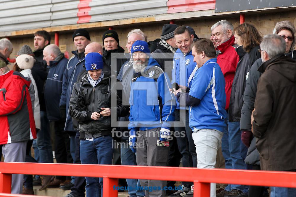 Lowestoft Town fans during the Conference North match at the Abbey Business Stadium, Cheltenham<br /> Picture by Tom Smith/Focus Images Ltd 07545141164<br /> 31/01/2015