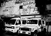 Pakistan, Karachi, 2004. The Tower Center on Jinnah Road in Karachi houses administrative offices and an all-important dispatch center for Edhi ambulances.