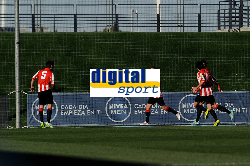 Athletic Club B's Bilbao, Lecue and Santamaría during 2014-15 Spanish Second Division match between Real Madrid Castilla and Athletic Club B at Alfredo Di Stefano stadium in Madrid, Spain. February 08, 2015. (ALTERPHOTOS/Luis Fernandez)