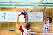 Volleyball match between SO Serbia (white-blue) and SO Poland (white-red) during of The Special Olympics Unified Volleyball Tournament at Ursynow Arena in Warsaw on August 28, 2014.<br /> <br /> Poland, Warsaw, August 28, 2014<br /> <br /> For editorial use only. Any commercial or promotional use requires permission.<br /> <br /> Mandatory credit:<br /> Photo by © Adam Nurkiewicz / Mediasport