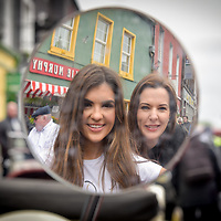 REPRO FREE<br /> Hope Hickey from Lockdown models and Cassandra O' Connell from The Blue Haven pictured at the start of the Blue Haven Kinsale Vintage Rally on Saturday.<br /> Picture. John Allen<br /> <br /> Kinsale Vintage Rally Weekend 2017