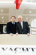 James Corden  launches the new Sunseeker 75 Yacht with Robert Braithwaite, brand president and founder of Sunseeker. The London Boat Show opens at the Excel Centre, Docklands, London, UK 04 January 2014. Guy Bell, 07771 786236, guy@gbphotos.com