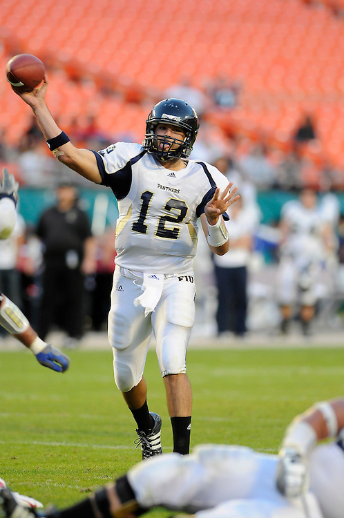 November 29, 2008: Paul McCall of the Florida International Golden Panthers in action during the NCAA football game between the Florida Atlantic Owls and the Florida International Golden Panthers. The Owls defeated the Golden Panthers 57-50.