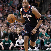 10 May 2012: Atlanta Hawks small forward Tracy McGrady (1) brings the ball upcourt during the Boston Celtics 83-80 victory over the Atlanta Hawks, in Game 6 of the Eastern Conference first-round playoff series, at the TD Banknorth Garden, Boston, Massachusetts, USA.