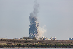 © Licensed to London News Pictures. 22/03/2018. Gillingham, UK. The main chimney has been demolished at Kingsnorth Power Station in Hoo, Kent, as seen from across the River Medway in Gillingham. Photo credit : Rob Powell/LNP