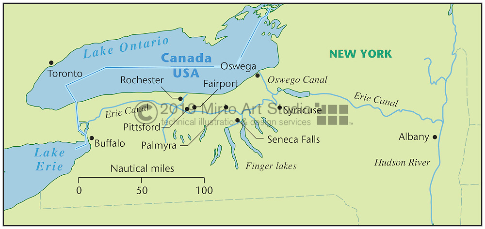 Vector map of the Erie Canal, New York