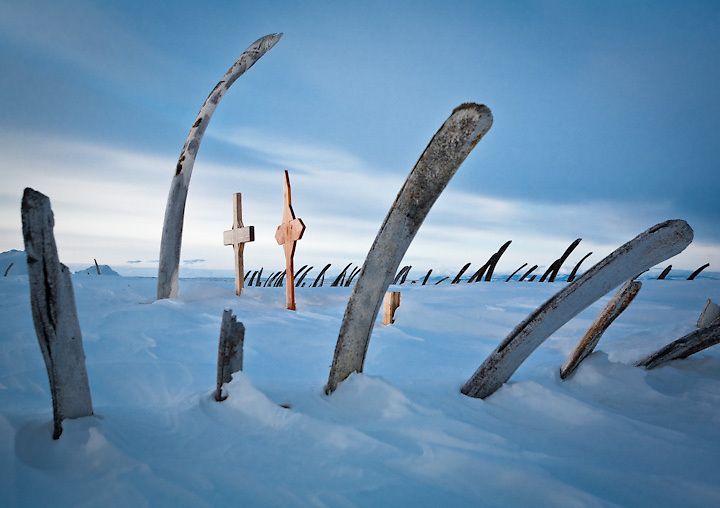 Iñupiat whale bone graveyard, Point Hope, Alaska.