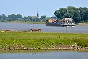 Nederland, Varik, 6-6-2018 Een vrachtschip beladen met containers vaart over de Waal richting Duitsland .Foto: Flip Franssen