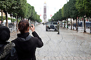 Tunis, Tunisia. January 27th 2011.Women photograph the army on Avenue Bourguiba.....