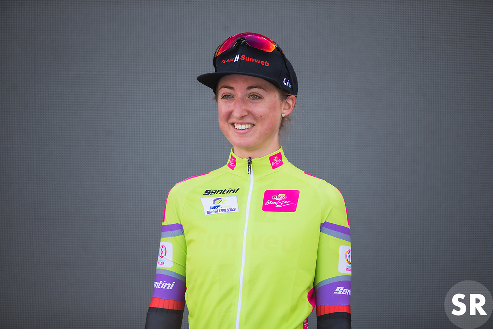 Leah Kirchmann (CAN) of Team Sunweb celebrates leading the overall standings after Stage 1 of the Madrid Challenge - a 12.6 km team time trial, starting and finishing in Boadille del Monte on September 15, 2018, in Madrid, Spain. (Photo by Balint Hamvas/Velofocus.com)