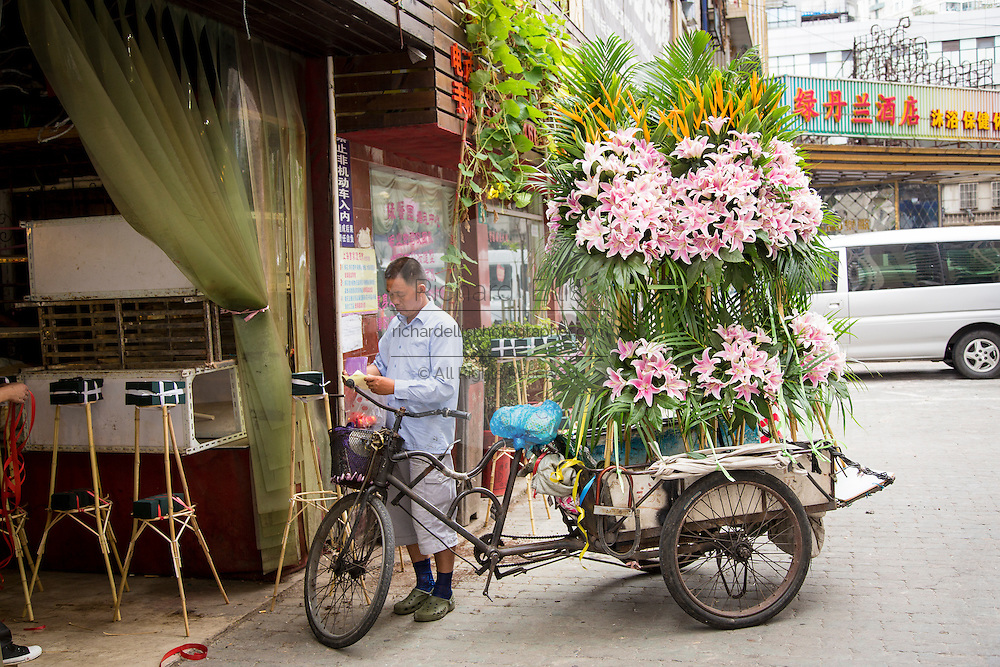 A bicycle delivery man carries a giant load of flowers Shanghai, China