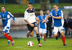Cowdenbeath's Jamie Stevenson, Falkirk's Phil Roberts and Cowdenbeath's James Fowler.<br /> Cowdenbeath 0 v 2 Falkirk, Scottish Championship game today at Central Park, the home ground of Cowdenbeath Football Club.<br /> &copy; Michael Schofield.