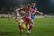 Brad Halliday (Accrington Stanley) sees the ball out over the dead-ball line during the Sky Bet League 2 match between Accrington Stanley and Hartlepool United at the Fraser Eagle Stadium, Accrington, England on 19 January 2016. Photo by Mark P Doherty.
