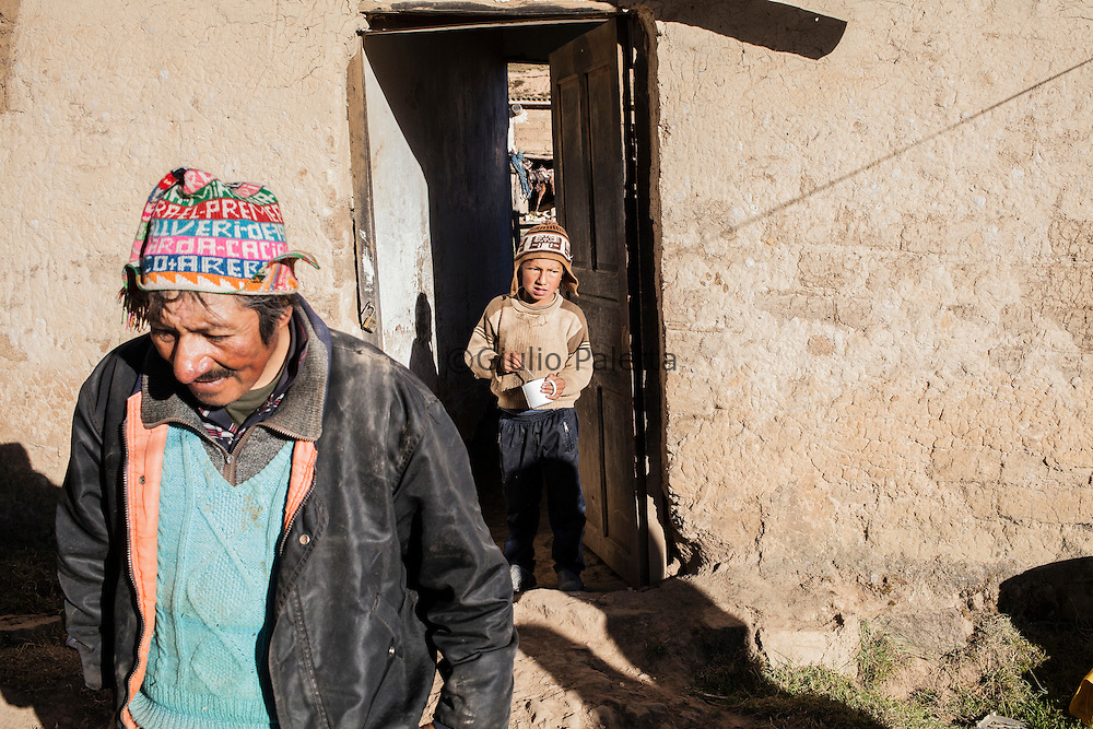 inside a house of Challviri, a small and poor village near Cochabamba in the Bolivian Andes