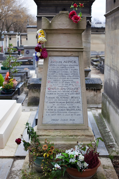 The grave of poet Charles Baudelaire in Montparnasse Cemetery, Paris
