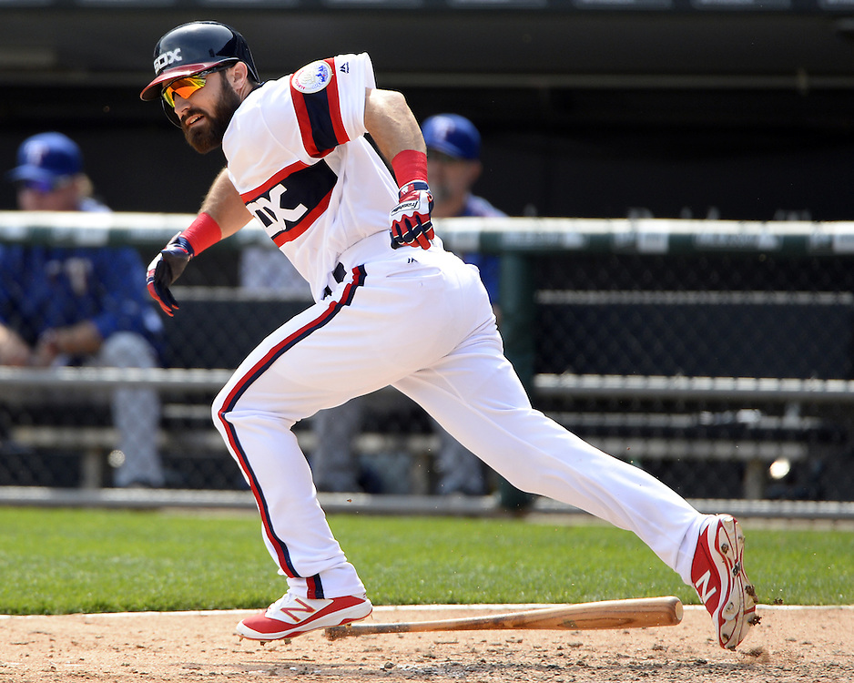 CHICAGO - APRIL 24:  Adam Eaton #1 of the Chicago White Sox bats against the Texas Rangers on April 24, 2016 at U.S. Cellular Field in Chicago, Illinois.  The White Sox defeated the Rangers 4-1.  (Photo by Ron Vesely)   Subject: Adam Eaton