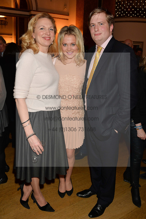 Left to right, JESSICA FELLOWES, POPPY JAMIE and the HON.PEREGRINE KITCHENER-FELLOWES at a party to celebrate the publication of  'I Used to be in Pictures' an untold story of Hollywood by Austin Mutti-Mewse and Howard Mutti-Mewse held at The Lansdowne Club, London on 6th March 2014.