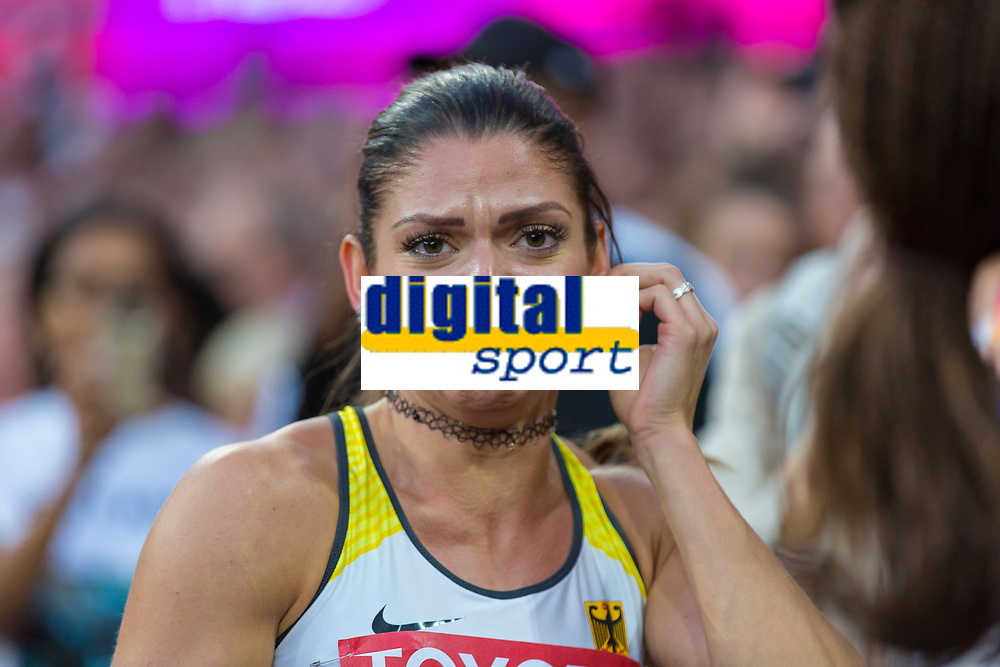 Athletics - 2017 IAAF London World Athletics Championships - Day Nine, Evening Session<br /> <br /> Womens 100m Hurdle Final<br /> <br /> Pamela Dutkiewicz (Germany) reacts to her name being put on the board and getting placed third at the London Stadium<br /> <br /> COLORSPORT/DANIEL BEARHAM