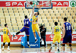 Jure Besedic of Helios Suns vs Austin James Burgett of Hopsi Polzela during basketball match between KK Hopsi Polzela and KK Helios Suns in semifinal of Spar Cup 2018/19, on February 16, 2019 in Arena Bonifika, Koper / Capodistria, Slovenia. Photo by Vid Ponikvar / Sportida