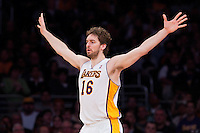 11 March 2012: Forward Pau Gasol of the Los Angeles Lakers plays defense against the Boston Celtics during the first half of the Lakers 97-94 victory over the Celtics at the STAPLES Center in Los Angeles, CA.