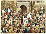 Jesus raising the widow's son at Nain. 'Young Man, I say unto thee, Arise.'  Bible, New Testament, St Luke Ch. 7. Name of young man said to be Quadratus.  From J.J. Tissot ''The Life ouf our Saviour Jesus Christ' c1890. Oleograph.