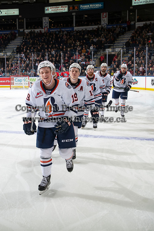 KELOWNA, BC - OCTOBER 12: Orrin Centazzo #19 of the Kamloops Blazers leads his line to the bench to celebrate a goal against the Kelowna Rockets at Prospera Place on October 12, 2019 in Kelowna, Canada. (Photo by Marissa Baecker/Shoot the Breeze)